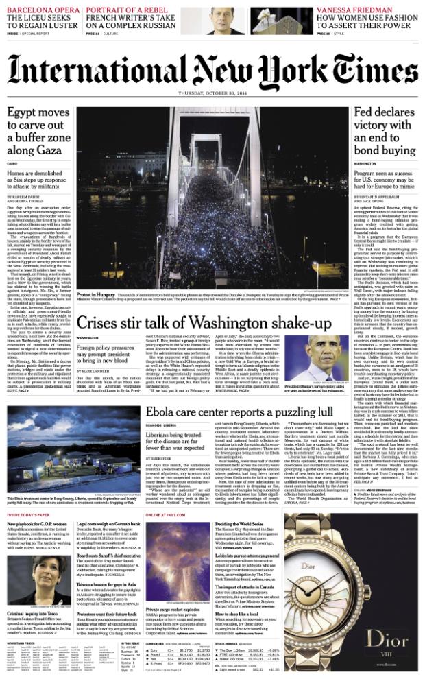 A New York Times október 30.-i címlapja