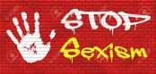 stop sexism no gender discrimination and prejudice or stereotyping grafitty on red brick wall, text and hand