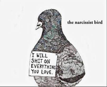A nárcisztikus madár: szarik mindenre, ami neked fontos.